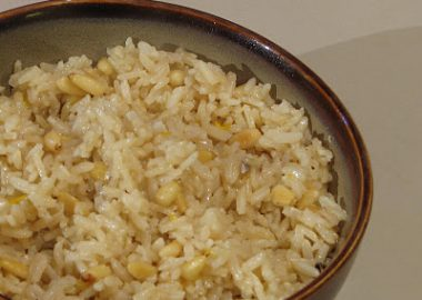 Brown Rice with Toasted Pine Nuts, Carmelized Shallots and Lemon Zest