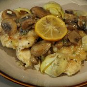 Chicken, Mushrooms and Artichoke Hearts in a Roasted Lemon Sauce