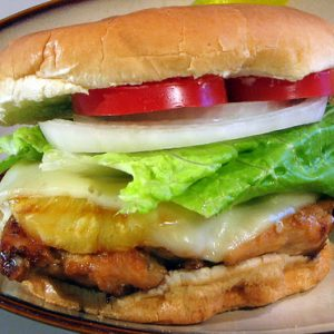 Chicken Teriyaki Burger with Grilled Pineapple
