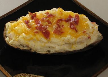 Twice Baked Potato with Pancetta and Caramelized Onions