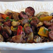 Chicken Sausages with Onions, Peppers and Potatoes