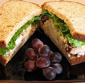 Chicken, Grape and Walnut Salad Sandwich