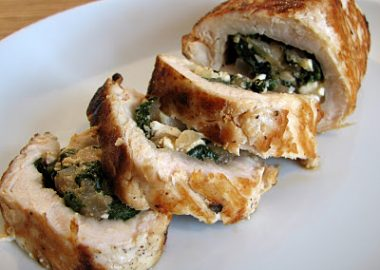 Feta, Spinach and Caramelized Onion Stuffed Chicken Breasts