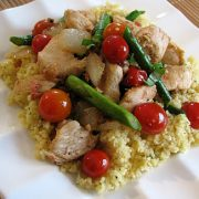 Chicken, Pancetta and Asparagus over Couscous
