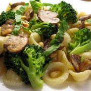 Orecchiette with Broccoli, Mushrooms and Roasted Garlic in a Light Lemon Butter Sauce