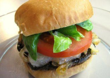 Portobello and Havarti Burgers with Caramelized Onions