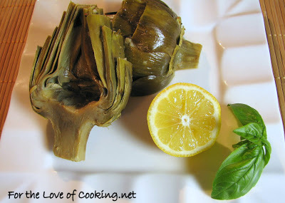 Baked Artichokes with Lemon, Garlic and Basil