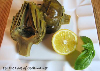 Baked Artichokes with Lemon, Garlic and Basil