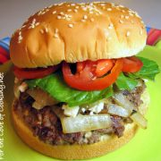 Hamburgers with Feta and Caramelized Onions