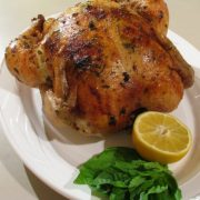 Lemon, Garlic and Basil Slow Roasted Chicken