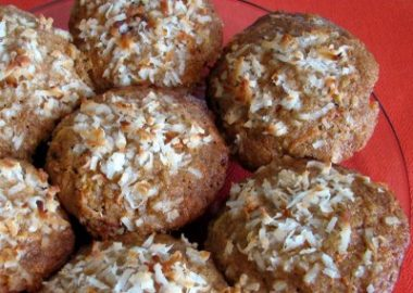 Carrot, Coconut, and Walnut Muffins