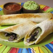 Black Bean, Green Chile and Sharp Cheddar Baked Flautas
