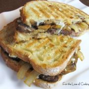 Flank Steak, Caramelized Onion, Mushroom and Blue Cheese Panini