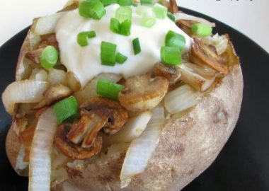 Baked Potato with Caramelized Mushrooms and Onions