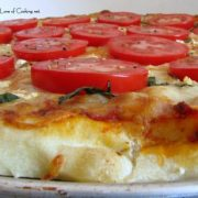 Tomato, Basil, Feta and Garlic Pizza