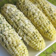 Sweet Corn with Cilantro Lime Butter and Cotija Cheese
