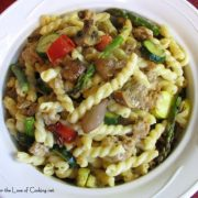 Gemelli with Turkey Italian Sausage and Roasted Vegetables in a Parmesan Cream Sauce