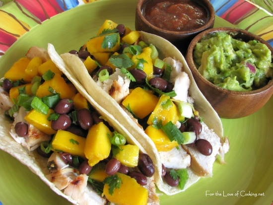 Cilantro Lime Chicken Tacos with a Mango and Black Bean Salsa