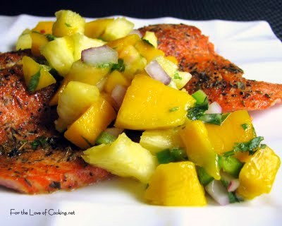 Grilled Blackened Salmon with Pineapple Mango Salsa