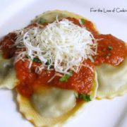 Portobello Mushroom Ravioli with Roasted Garlic and Basil Marinara