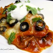 Shredded Beef and Caramelized Onion Enchiladas