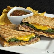 Steak, Roasted Poblano Pepper, and Sharp Cheddar Cheese Panini