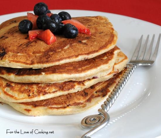 Banana, Blueberry, and Strawberry Pancakes