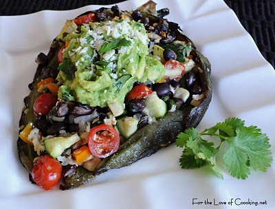 Black Bean And Vegetable Stuffed Poblano Peppers For The Love Of Cooking