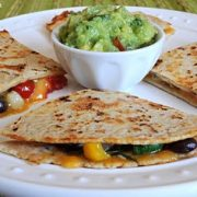 Black Bean and Vegetable Quesadilla with Guacamole
