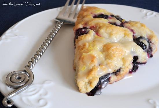 Blueberry Scones with Lemon Glaze