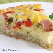 Canadian Bacon, Green Chile, & Cheddar Quiche with a Shredded Potato Crust