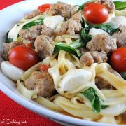 Linguine with Turkey Italian Sausage, Tomatoes, Arugula, and Ciliengini