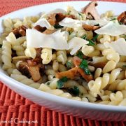 Gemelli with Chanterelles, Pine Nuts, and Parmesan