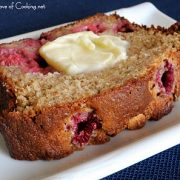 Banana, Raspberry, and White Chocolate Chip Bread