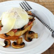Poached Eggs on Toast with Roasted Tomatoes, Caramelized Mushrooms, and Shaved Parmesan