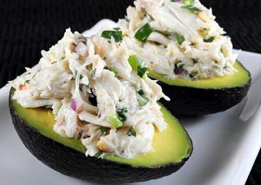 Cilantro and Lime Crab Salad in Avocado Halves