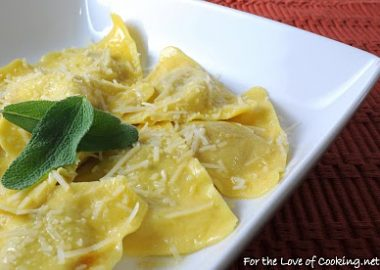 Butternut Squash Ravioli with a Butter Sage Sauce and Parmesan Cheese