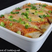 Shredded Pork and Monterey Jack Cheese Enchiladas with Homemade Enchilada Sauce