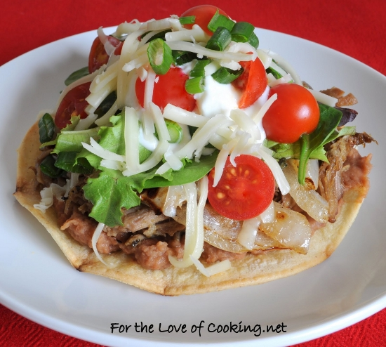 Shredded Pork and Caramelized Onion TostadaShredded Pork and Caramelized Onion Tostada