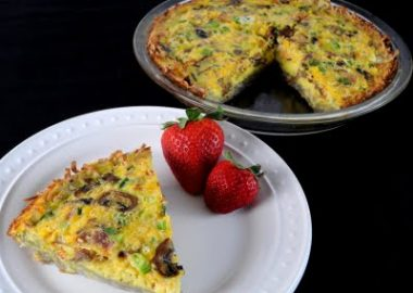 Bacon, Mushroom, and Extra Sharp Cheddar Potato Crusted Quiche