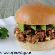 Southwestern Sloppy Joes with Avocado Slices