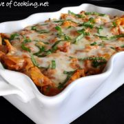 Turkey Italian Sausage, Mushroom, Marinara, and Ricotta Pasta Bake