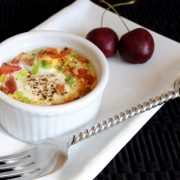 Baked Eggs with Bacon, Tomatoes, and Sharp Cheddar