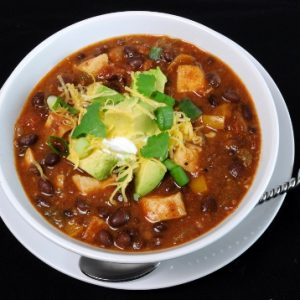 Chili with Black Beans and Grilled Chicken
