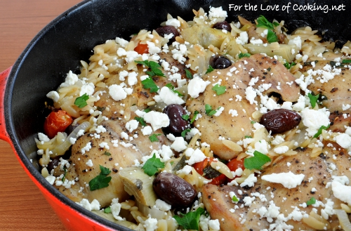 Mediterranean Chicken and Orzo Bake | For the Love of Cooking