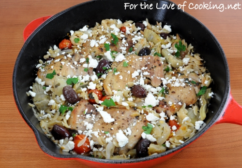Mediterranean Chicken and Orzo Bake
