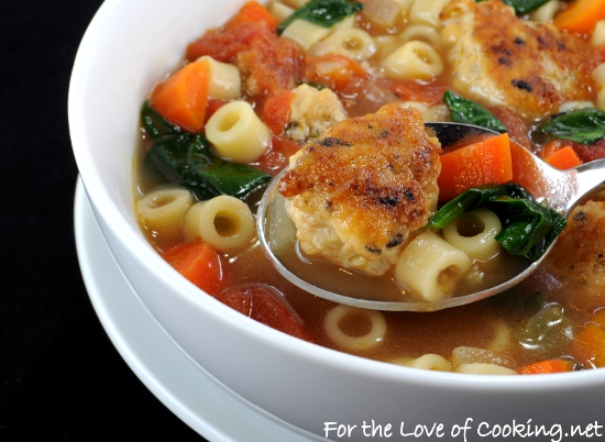 Mini Chicken Meatball, Pasta, and Vegetable Soup | For the Love of ...