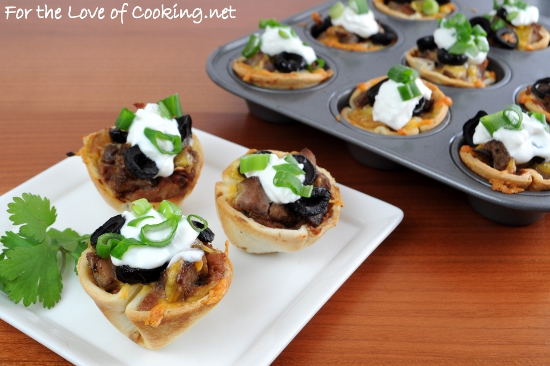 For the Love of Cooking » Mini Steak and Bean Taco Cups