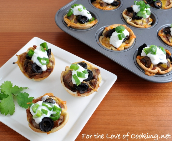 Mini Steak and Bean Taco Cups
