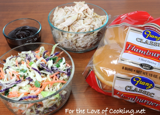 Barbecue Chicken Sandwiches with Cole Slaw | For the Love of Cooking